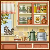 Retro kitchen. Vector