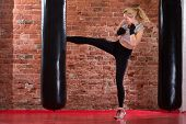 Girl Kicking At Punching Bag