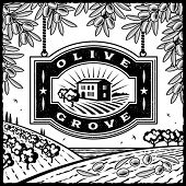 Retro Olive Grove black and white. Vector