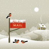 Mailbox on the forest edge. Vector