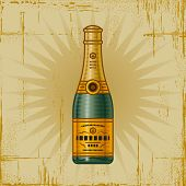 Retro Champagne Bottle. Vector