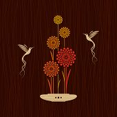 Card with birds and flowers. Vector