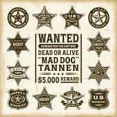 Vintage sheriff, marshal and ranger badges set. Fully editable EPS10 vector.