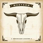 Vintage Western Bull Skull. Editable EPS10 vector illustration.