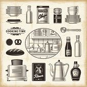 Vintage kitchen set. Fully editable EPS10 vector.
