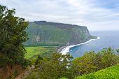 Beautiful Coast Line Of Pacific Ocean, Waipio Valley, Hawaii.