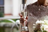 Glass of champagne in a hand of the bride