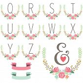 Monogram Wreath Table Card Q to Z