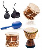 collage photos of African drums and percussion isolated on white background
