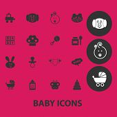 baby, children, child, toys, kinder, garden black isolated icons, signs, symbols, illustrations set, vector