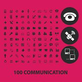 100 communication, internet, phone, connection black isolated icons, signs, symbols, illustrations set, vector
