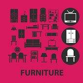 furniture, interior, table, chair, armchair, sofa, cupboard, room black isolated icons, signs, symbols, illustrations set, vector
