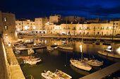 Giovinazzo touristic port by night. Apulia. poster