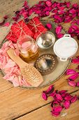 Natural Cosmetics On A Rustic Talbe