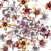 Floral Vector Seamless Background With Pastel Flowers