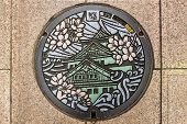 image of manhole  - Osaka Japan  - JPG