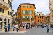 People In The Area Near  Arena Of Verona - The Place Of Annual Festival Operas In Verona, Italy