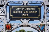 foto of suspension  - Plaque on the River Dee Suspension Bridge aka Queens Park Suspension bridge Chester Cheshire England UK Western Europe - JPG