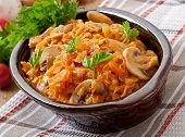 picture of stew  - Stewed cabbage with mushrooms and tomato sauce - JPG