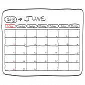June 2015 Planning Calendar Vector, Doodles Hand Drawn