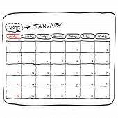January 2015 Planning Calendar Vector, Doodles Hand Drawn