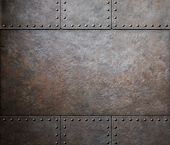 picture of ironclad  - rust metal texture with rivets background - JPG