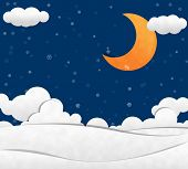 image of crescent-shaped  - Snow in night Sky and Crescent Moon Paper Cut - JPG