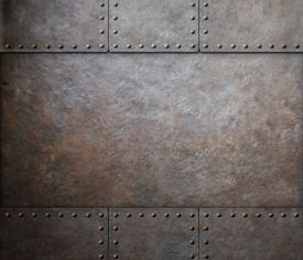 stock photo of ironclad  - rust metal texture with rivets background - JPG