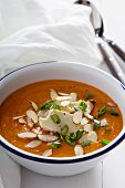 stock photo of butternut  - Sweet potato and butternut squash soup with chicken - JPG
