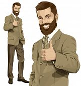 picture of beard  - Vector hipster business man with beard shows well done  - JPG