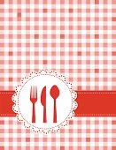 stock photo of dinner invitation  - Dinner invitation card background with spoon knife and fork on red and white gingham background - JPG