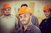 stock photo of hard-on  - Workers in industrial factory - JPG