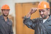 stock photo of factory-worker  - Workers in industrial wood factory - JPG