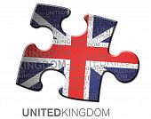 Puzzle United Kingdom with flag