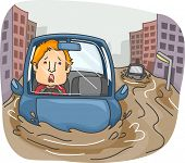 picture of caught  - Illustration of a Panicking Man Caught in the Middle of a Flash Flood  - JPG