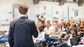 stock photo of seminar  - Speaker Giving a Talk at Business Meeting - JPG
