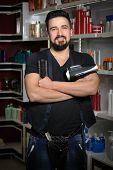 image of cross-dresser  - Handsome professional hairdresser man - JPG