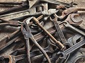 stock photo of dirty  - set of old dirty tools in vintage style - JPG
