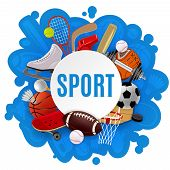 stock photo of sportswear  - Sport equipment concept with competitive games accessories and sportswear vector illustration - JPG