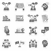 stock photo of interpreter  - Translation and dictionary language education black icon set isolated vector illustration - JPG