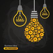 foto of pattern  - Light Bulb with Gears Pattern on Blackboard Background - JPG