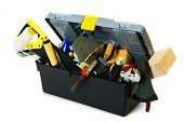 stock photo of tool  - Working tools in box  - JPG