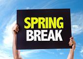 stock photo of spring break  - Spring Break card with sky background - JPG
