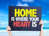 stock photo of soulmate  - Home is Where Your Heart Is card with beach background - JPG