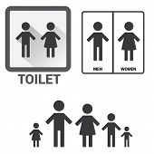 stock photo of toilet  - Black Square Toilet Sign with Toilet - JPG
