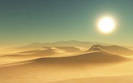foto of sahara desert  - 3D render of a desert scene - JPG