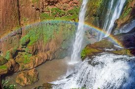 image of rainbow piano  - Ouzoud waterfalls located in the Grand Atlas village of Tanaghme with rainbow - JPG
