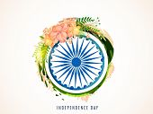 picture of ashoka  - Greeting card with beautiful flowers decorated shiny Ashoka Wheel for Indian Independence Day celebration - JPG