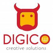 stock photo of cow head  - Vector logo template - JPG