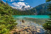 stock photo of lp  - Majestic mountain lake in Canada - JPG